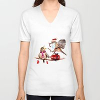 santa V-neck T-shirts featuring Santa by Anna Shell
