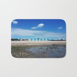 Blue beach huts Bath Mat