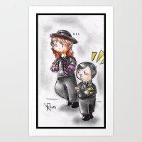 wwe Art Prints featuring WWE Chibi - Undertaker and Paul Bearer by Furiarossa