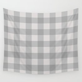 Grey Blue Checkered Plaid Squares Wall Tapestry