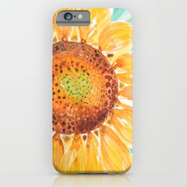 Wild Sunflower Golden Waves_Minimal hand painted watercolor iPhone Case