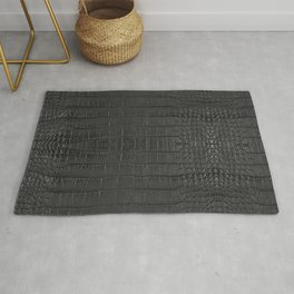 Alligator Black Leather Rug