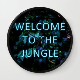 Welcome to the Jungle - Neon Typography Wall Clock