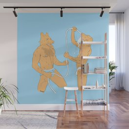 Dogmen fight with water in underwear Wall Mural