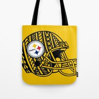 steelers Tote Bags featuring Polynesian style Steelers by Lonica Photography & Poly Designs