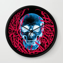 Gothic Calligraphy on Skull saying Always Hungry Wall Clock
