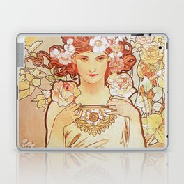 Rose by Alphonse Mucha 1897 // Vintage Girl with Red Hair Floral Love Design Laptop & iPad Skin
