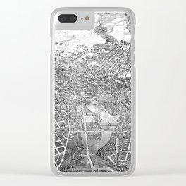 Vintage Pictorial Map of San Antonio TX (1886) BW Clear iPhone Case