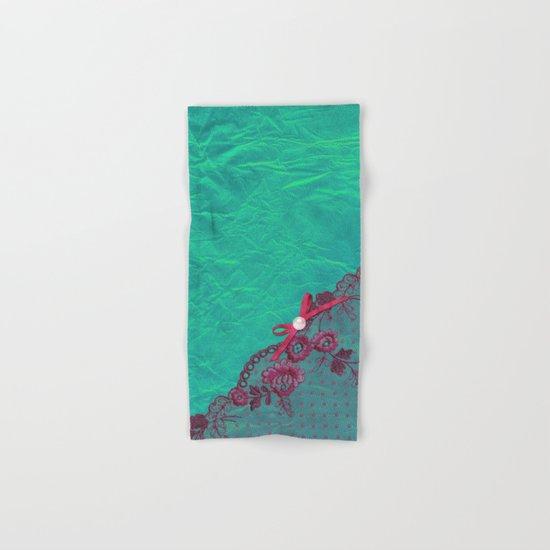 Claire´s treasure I - Pink lace,ribbon and pearl on aqua backround Hand & Bath Towel