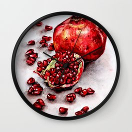 Red pomegranate watercolor art painting Wall Clock