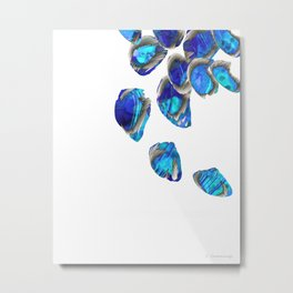 Blue And White Abstract Art - Falling 1 - Sharon Cummings Metal Print