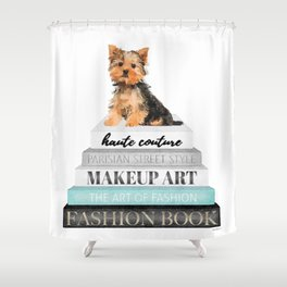 Yorkie, Books, Fashion books, Gray, Teal, Fashion, Fashion art, fashion poster, fashion wall art, Shower Curtain