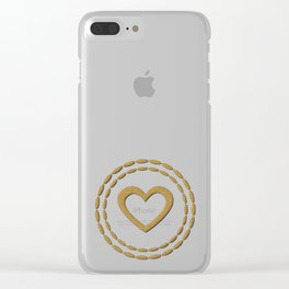 Cute Gold Hearts Pattern Clear iPhone Case
