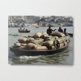 Transporting goods on the river in Bangladesh Metal Print