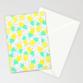 Modern tropical mint yellow pineapples black polka dots pattern illustration Stationery Cards