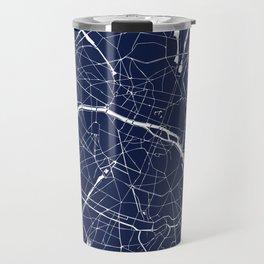 Paris France Minimal Street Map - Navy Blue and White Reverse Travel Mug