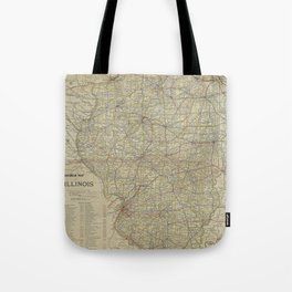 Vintage Map of Illinois Railroads (1910) Tote Bag