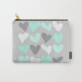 Mint white grey grunge hearts Carry-All Pouch