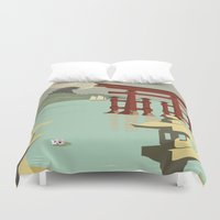 travel poster Duvet Covers featuring Kaiju Travel Poster by Duke Dastardly