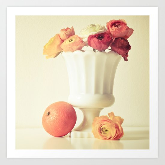 Milk Glass, Tangerine and Flowers Art Print