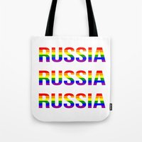 russia Tote Bags featuring RUSSIA by Beauty Killer Art
