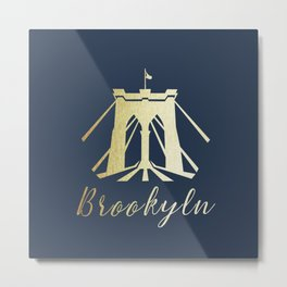 Brooklyn Bridge in Gold Metal Print