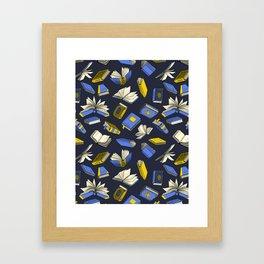 Spellbooks, blue Framed Art Print