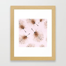 Delicate Brown Feather Seamless Pattern On Pink Framed Art Print
