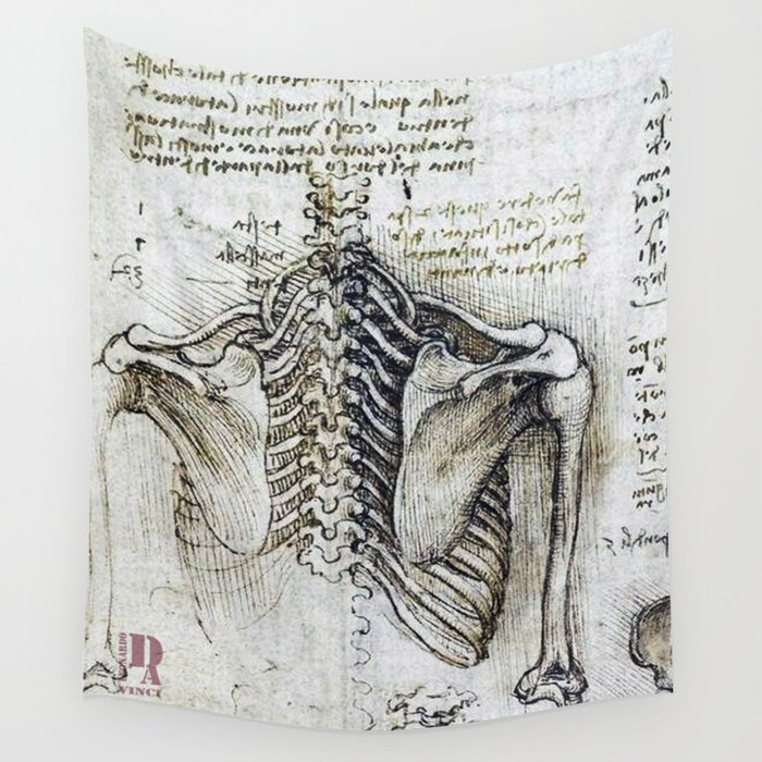 Leonardo Da Vinci Human Body Sketches Skeleton Wall Tapestry By