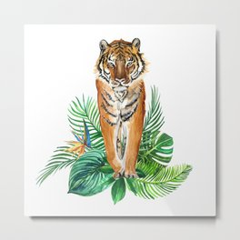 watercolor illustration of a tropical laves and Tiger Metal Print