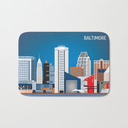 Baltimore, Maryland - Skyline Illustration by Loose Petals Bath Mat