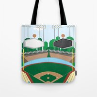 dodgers Tote Bags featuring Dodger Stadium by Eric J. Lugo