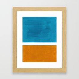 Rothko Minimalist Mid Century Modern Vintage Colorful Pop Art Colorfields Dark Teal Yellow Ochre Framed Art Print