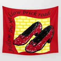 oz Wall Tapestries featuring Follow the yellow brick road (OZ) by Pendientera