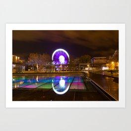 Budapest Eye Ferrish Wheel, Colorful Night Photography, Urban Cityscape Print Art Print