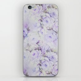 Vintage lavender gray botanical roses floral iPhone Skin