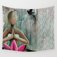 namaste Wall Tapestries featuring Namaste  by hippocrocaduck