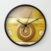 vw Wall Clocks featuring Retro VW by ShadeTree Photography
