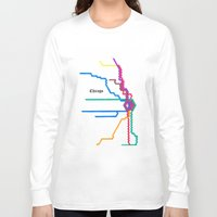 subway Long Sleeve T-shirts featuring Chicago Subway by Abstract Graph Designs