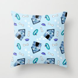 Dog Paradise in Blue Throw Pillow
