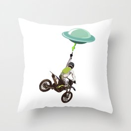 Motocross alien Throw Pillow