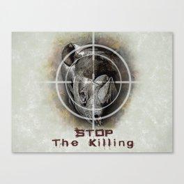 Black Rhino Stop The Killing Illustration Canvas Print