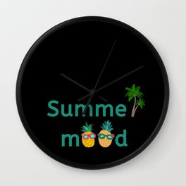 Summer Mood Pineapple Palm Trees Wall Clock