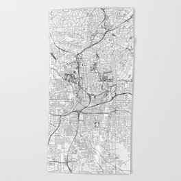Atlanta White Map Beach Towel