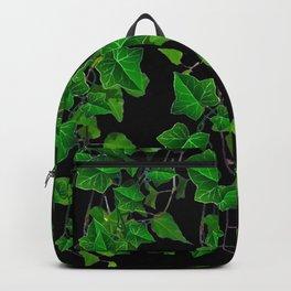 GREEN TRAILING IVY HOUSE PLANTS BLACK ART Backpack