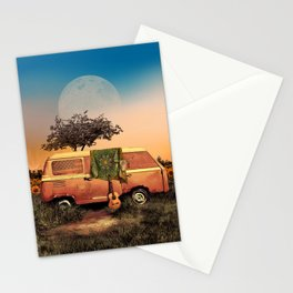 summer sunset landscape with skull and guitar Stationery Cards