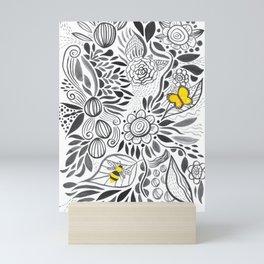 black & white flowers Mini Art Print