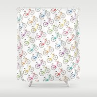 bicycles Shower Curtains featuring Rainbow Bicycles by Nicole Alesi
