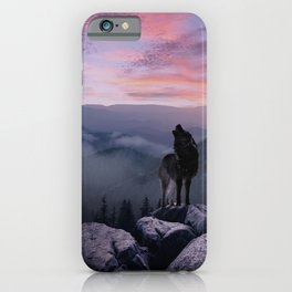Lone Wolf at Sunset Ridge iPhone Case