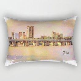 Tulsa Skyline and Arkansas River Rectangular Pillow